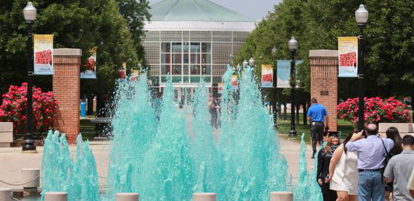 Fountain on campus with turquoise water